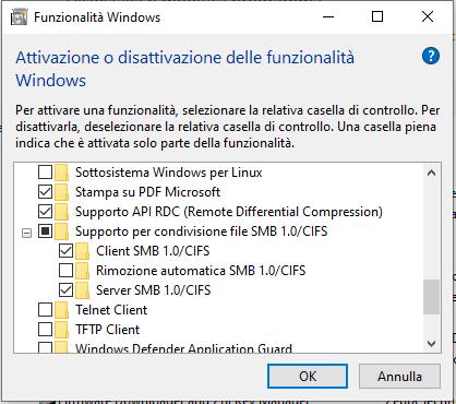 Attivazione e disattivazione della funzionalità di windows 10 ultime versioni