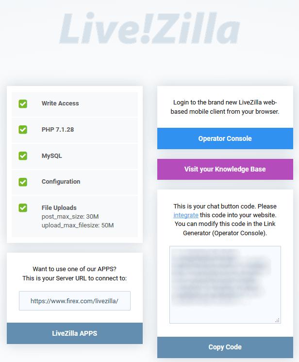 Livezilla ,control panel page